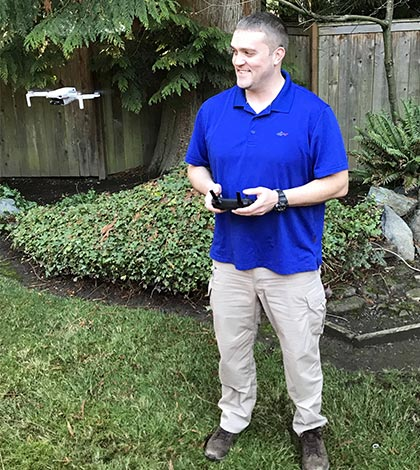 Lee Doran from Doran Home Inspections operating a drone.